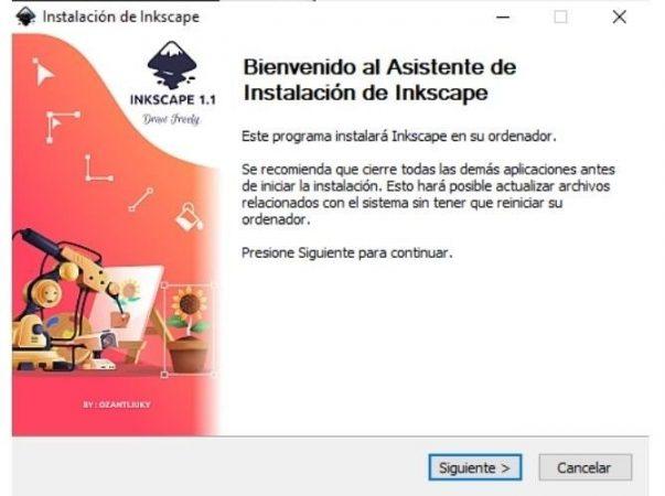 asistente de instalacion inkscape windows
